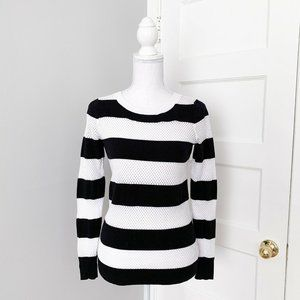 Express Perforated Stripe Sweater Black & White